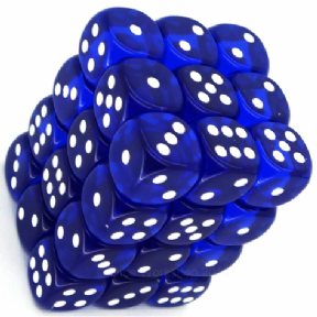 Blue & White Translucent 12mm D6 Dice Block